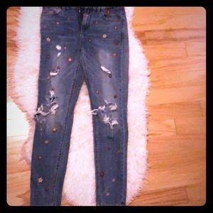 Lucky Brand Flower Ripped Jeans